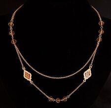 Farbe Rosegold - Collier Kette 45-50 cm + Ornamente + Kugeln - Kristalle - NEU
