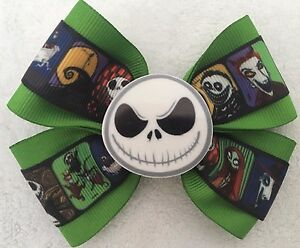 """Girls Hair Bow 4"""" Wide Nightmare Before Christmas Green Flatback French Barrette"""