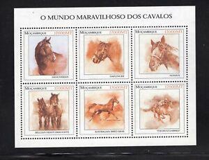 Mozambique 2002 Arabian Hanoverian Nonius Belgian  Horses Minisheet MNH Sc 1556