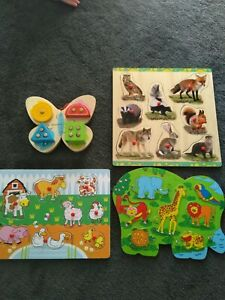 Gorgeous Wooden Puzzles Child Kids Toddler Lot of 4 Bello Animals Woodland
