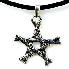 Witchcraft Charmed Magic Wicca Pagan Wiccan Twigs Pentagram Star Pewter Pendant