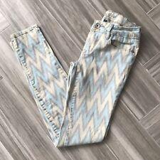 Bullhead Black Blue Grey Chevron Pattern Skinniest Stretch Jeans Pants Womens 5