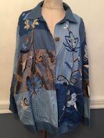 2X Indigo Moon Blue Bohemian Embroidered Jacket Women's Plus Size
