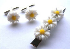 GORGEOUS HANDMADE UNIQUE TIE PIN AND CUFFLINKS SET DAISY FLOWER + FREE GIFT BAG