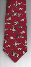 NNT Van Heusen 417 Neck Tie Necktie 100% Silk Dog DUCK DUCKS WATERFOWL Dark Red
