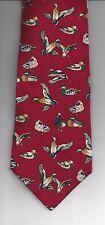 NNT Van Heusen 417 Neck Tie Necktie 100% Silk Dog DUCK DUCKS WATERFOWL Dark Red