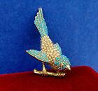 Ciner Signed Turquoise Blue White Seed Bead Rhinestone Bird Brooch Pin