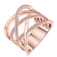Criss Cross CZ Crystal Cocktail Silver Ring Fashion Women Rings Jewelry Gift 5 Rose Gold