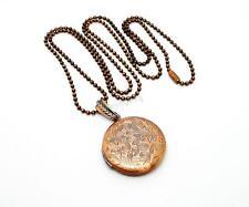 Copper Flower Round Photo Box Locket Necklace 70cm Chain