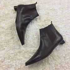 EUC FENDI Booties Boots Pointy Brown Leather Ankle Size 36 6 Designer Luxury