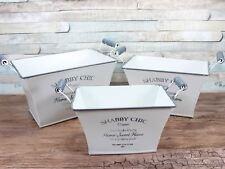 White shabby chic metal set of 3 storage baskets