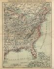 1882 AMERICA USA EASTERN STATES FLORIDA MAINE VIRGINIA NEW YORK Antique Map