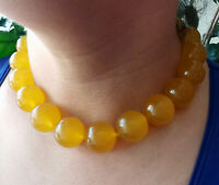 "Large yellow Jade choker necklace,Round Smooth 20mm Beads Knotted 18"" 20"" 24"""