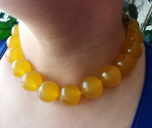 """Huge 20mm Natural yellow Jade gemstone Beads Knotted necklace 18"""""""