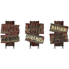 Amscan Creepy Cemetery Halloween Party Assorted Warning Sign Decoration, 3 Piece