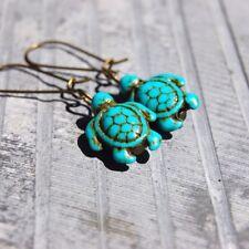 Handmade Blue Howlite Turquoise Carved Turtle Bead Bronze drop Dangle Earrings