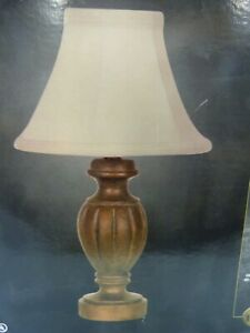 Hampton Bay Rosario Gold Finish Accent Table Lamp Cream Fabric Shade NIB NOS
