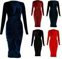 Ladies Womens Velvet Long Front Ruched Body Con Midi Dress Cowl Neck Long Sleeve