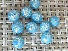 30 Vintage Blue Opal Luster Mother Of Pearl 8  MM Mosaic Beads Unique  1/2 Drill