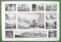 GERMANY Heidelber & Environs - 1845 Antique Print with Multiple Views