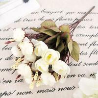 Artificial White Rose Spring Silk 18 Flower Heads Camellia Peony Bouquet Decor