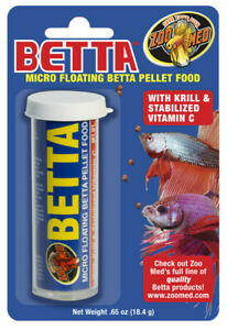Zoo Med Micro Floating Betta Pellet Canister Fish Food 0.65 oz    Free Shipping