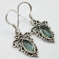 """ANTIQUE STYLE, 925 Solid Silver MARQUISE GREEN APATITE ARTISAN Earrings 1.3"""""""