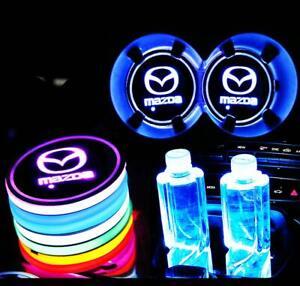 2PCS LED Car Cup Holder Lights Pad Mat for Mazda Atmosphere Lamp 7 Colors