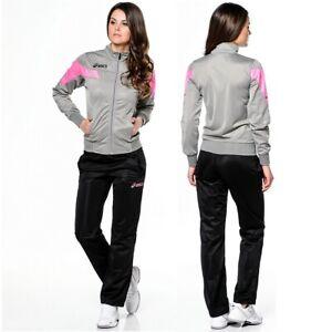 Asics Damen Trainingsanzug Jogginganzug Sport Anzug Jacke Hose pink grau/schwarz