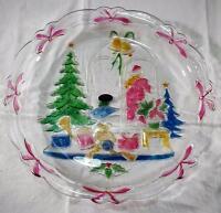"Crystal Clear Studios Christmas 14"" Plate CHRISTMAS JOY 312230 Handpainted Glass"
