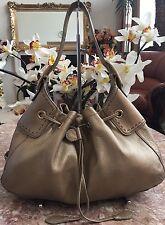 Cole Haan Gold Powder Pebbled Leather Draw String Shoulder Handbag Purse