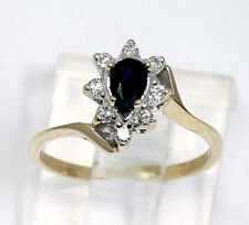Diamond sapphire halo ring 14K gold pear F color round brilliant .40C size 3 3/4