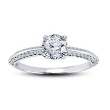 14K White Gold Finish Round Cut Engagement Ring 1.00 Ct Diamond Solitaire