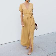 NEW Women Deep V-neck Casual Maxi Dress Ladies Party Evening Long Wrap Sun Dress