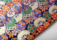 BY 1/2 YARD KIMONO SILK DAMASK JACQUARD BROCADE FABRIC : JAPANESE RETRO ELEMENTS