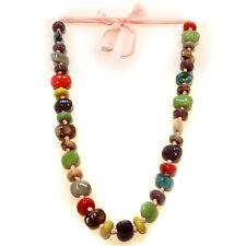 COLLIER SAUTOIR ruban de satin perles terre cuite céramique - Multicolore & rose