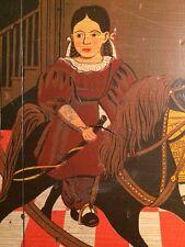 Folk Art Girl Toys Rocking Horse Bows primitive poster print on wood block paint