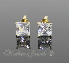 6MM SQUARE YELLOW GOLD SOLID STERLING SILVER SIMULATED DIAMOND EARRINGS STUDS