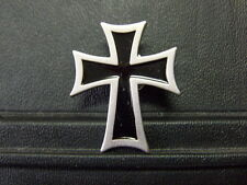 Pin Kreuz Schwarz Silber - 3,5 x 3 cm