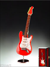 "Music Instrument Miniature 7"" Wooden Red Electric Guitar w/ Case & Stand CGE18R"