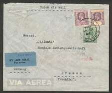 Straits Settlements Singapore To Germany Air Cover 1934 w 3 Stamps
