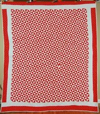 DAZZLING Vintage 40's Red & White Broken Dishes Antique Quilt ~GREAT DESIGN!