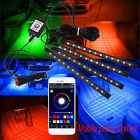 "9"" Flexible Strip Car Interior Grill App Control Under Car LED Accent Light Kit"