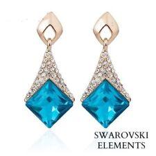 Boucles d'oreille earing Swarovski® Elements bleu turquoise losanges top qualité