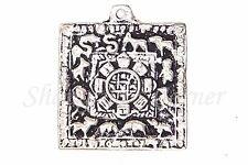 TIBETAN SILVER Calendar PENDANT Square With Auspicious Mandala Relief Design