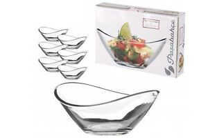 6 x Pasabahce Small Clear Glass Dessert Bowls Curved Ice Cream Fruit Sundae Dish