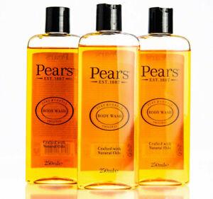 3x Pears Shower Gel Soap, Unisex, Body Wash, Shampoo, Classic Fragrance, 250ml
