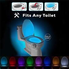 Veilleuse Led Cuvette Toilette WC Détecteur Mouvement 8 Couleurs Éclarage NeuF
