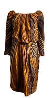Alberta Ferretti Italy Cocktail Dress Lined 100% Silk Long Sleeve 6