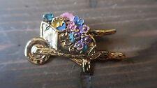 Vintage La Rage Enamel Gold Tone Gardening Flowers Brooch 5.7 x 3.7 cm